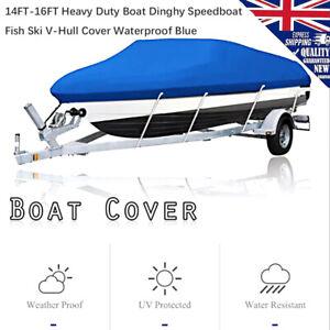 14FT-16FT-Heavy-Duty-Boat-Dinghy-Speedboat-Fish-Ski-V-Hull-Cover-Waterproof-Blue
