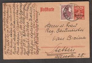 1920 Deutsches Reich Überdruck Post Card verstärkte Brannenburg zu Tessin Deutschland