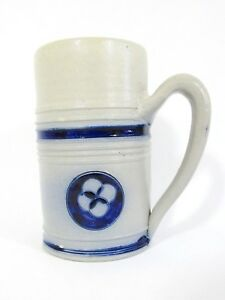 "COLONIAL WILLIAMSBURG Pottery Blue Salt Glaze Mug Stein Gris Cobalt 5"" Folk main-afficher le titre d`origine lAwnGtbi-09161648-833521235"