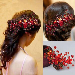 Haarnadel-Spange-Blumen-Strass-Tiara-Haarspange-Brautschmuck-Haar-Hochzeit-Clips