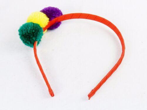 Girl/'s Headband Hair Restraint ~ Colorful Fuzzy Pom Pom Balls On Red Ribbon