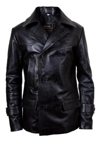 Military Men's Who Jacket Naval Leather German Cowhide Brown Coat Pea Black amp; Dr UaqUg