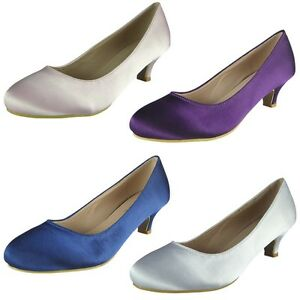 7f07b5c8484 Image is loading Womens-Ladies-Satin-Wedding-Bridesmaid-Mid-Low-Kitten-