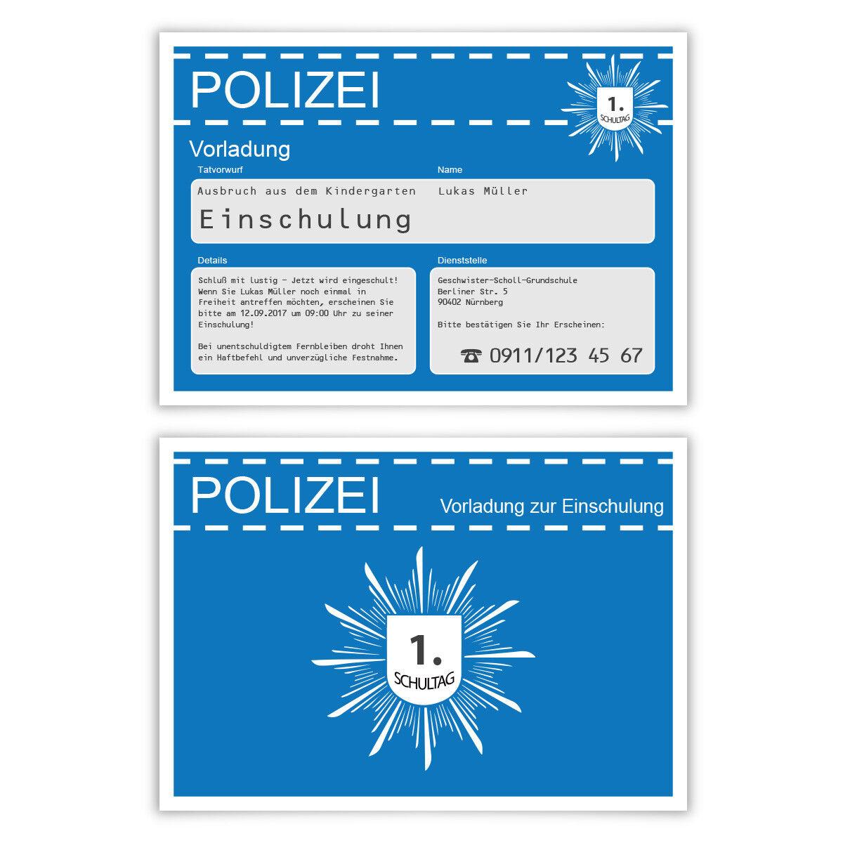 Einschulung Einladungskarte 1. Schultag Einschulungskarte Polizei Vorladung Blau