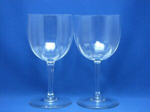 BACCARAT-MONTAIGNE-OPTIC-SET-2-WATER-RED-WINE-GLASSES-GOBLETS-CRYSTAL-7-SIGNED