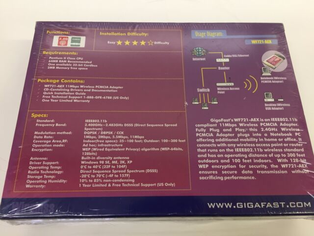 Gigafast 11Mbps Wireless PCMCIA Card Driver for Windows 10