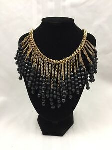 GOLD-METAL-CHAIN-CHANDELIER-STYLE-NECKLACE-W-BLACK-BEADS-19-IN-FASHION-JEWELRY