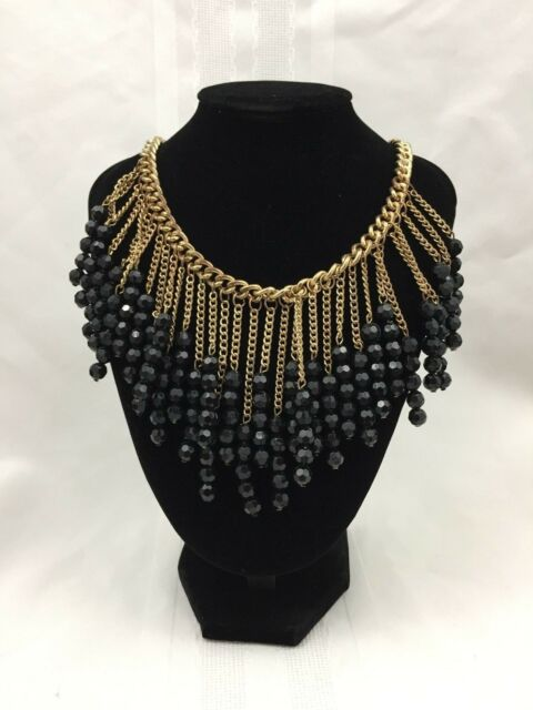 GOLD METAL CHAIN CHANDELIER STYLE NECKLACE W/ BLACK BEADS-19 IN.-FASHION JEWELRY