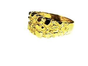 14kt-Men-039-s-gold-nugget-design-fashion-ring-9-grams-11MM