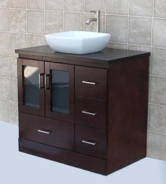 36 Bathroom Vanity 36 Inch Cabinet Wood Vessel Sink Faucet Mc1 For