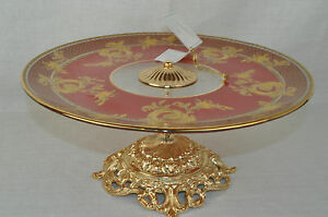Murano-Art-Glass-Decorative-Footed-Tray-Red-Gold-by-Decotech-New