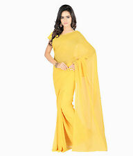 Indian Ethnic Wear Plain Yellow Colour Faux Chiffon Sari With Blouse