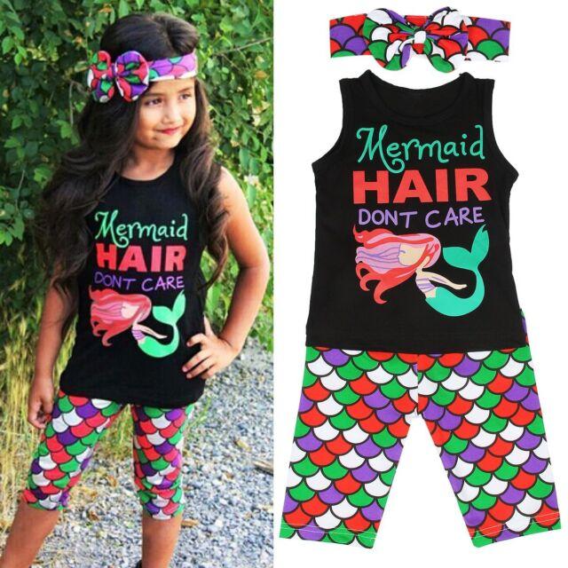 3PCS Toddler Kids Baby Girls Summer Outfits T-shirt Tops+Short Pants Clothes Set
