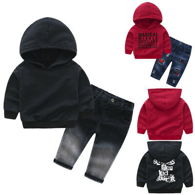 2Pcs Toddler Baby Boys Winter Hoodie Clothes Tops Pants Tracksuit Outfits Set UK