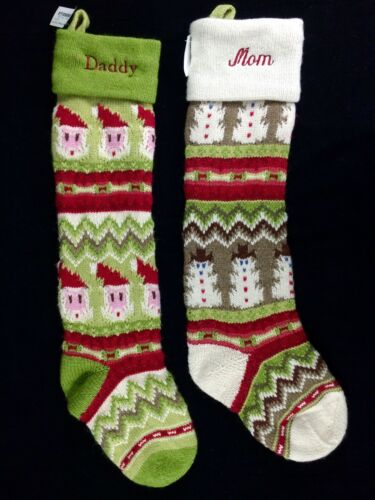 2 POTTERY BARN KIDS FAIR ISLE CHRISTMAS STOCKINGS DADDY MOM SANTA SNOWMAN NEW