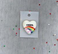 Rainbow & Hearts Fashion Pin Brooch Personalized CHERYL - Stocking Stuffer