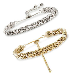 Adjustable-Flat-Byzantine-Bracelet-14K-Yellow-Gold-PLATED-For-ALL-WRISTS