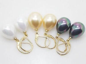 New-Wholesale-3-Pairs-12X16MM-White-Yellow-Black-Shell-Pearl-Drop-Earrings-AAA
