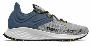 New Balance Men's Fresh Foam Roav Trail Shoes White with Blue & Yellow