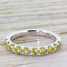 0.78ct FANCY INTENSE YELLOW DIAMOND HALF ETERNITY BAND RING - Platinum
