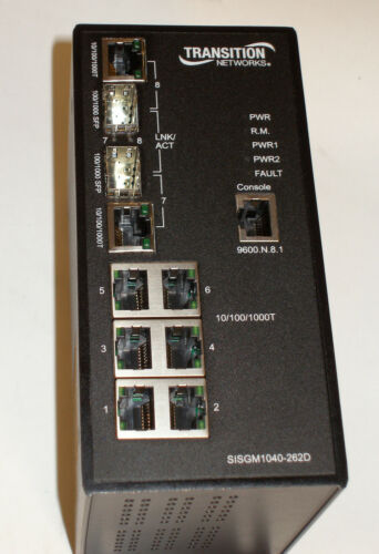Transition SISGM1040-262D-LR 8-Port 10//100//1000 Managed Hardened Gigabit Switch
