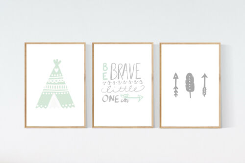 3 Modern Native Adventure Prints Teepee Arrow Nursery Wall Art Blue Room Picture