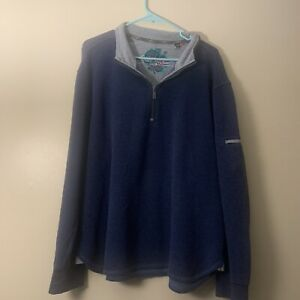 Robert-Graham-Men-039-s-XL-Blue-Quarter-Zip-Sleeve-Pocket-Pullover-Cotton-Sweater