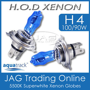 12V HOD XENON H4 100/90W 5500K SUPERWHITE HEADLIGHT AUTO/CAR WHITE BULBS/GLOBES