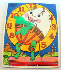Playskool Vintage Wooden Puzzle Telling Time Teacher Clock 1981 Humpty Dumpty