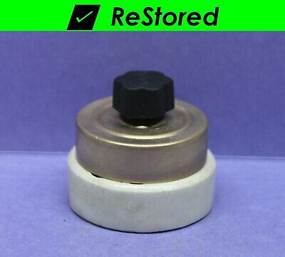 Vintage Dome Toggle Switch Round Brass//Porcelain Hubbell Double-Pole DPST
