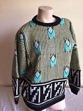 Vtg ESPIRT SPORT womens wool blend oversized boxy 80s 90s New Wave Sweater M/ L