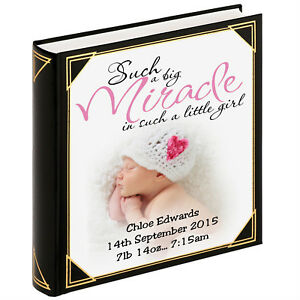 """Baby girl birthday 400 x 6x4/"""" photos Personalised large photo album guestbook"""