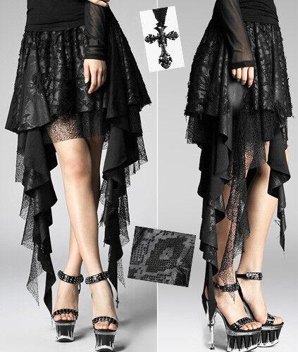 Jupe asymétrique serpent gothique punk lolita burlesque volant dentelle Punkrave