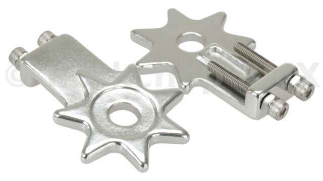 """BMX bicycle star spur chain tensioners tensioner for 3/8"""" axles (PAIR) - SILVER"""