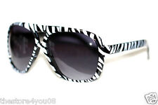Men's Women's 80's Sunglasses Aviator Black White Zebra Frame Black Lens Round