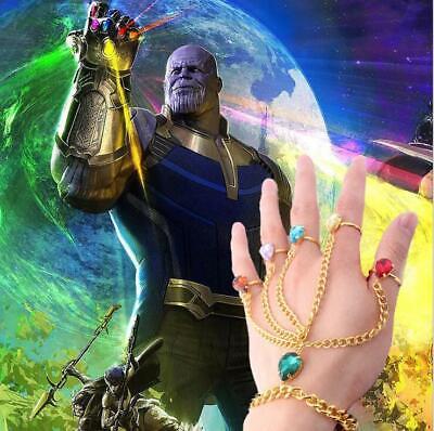 Avengers Endgame Thanos Infinity stones Bracelet Ring Set Cosplay Accessories
