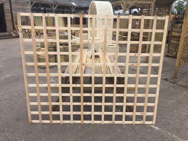 6x5 Heavy Duty Squared Trellis Fence Topper Lattice Raw Wood