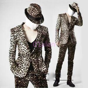 Show Coats Slim Leopard Jacket Mens Fit Nightclub Pants Blazers 7qw0R5g