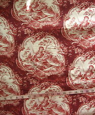 """100% Cotton Fabric """"Toile - Red"""" Red/White Couple Fishing by Stream, 46"""" Wide"""