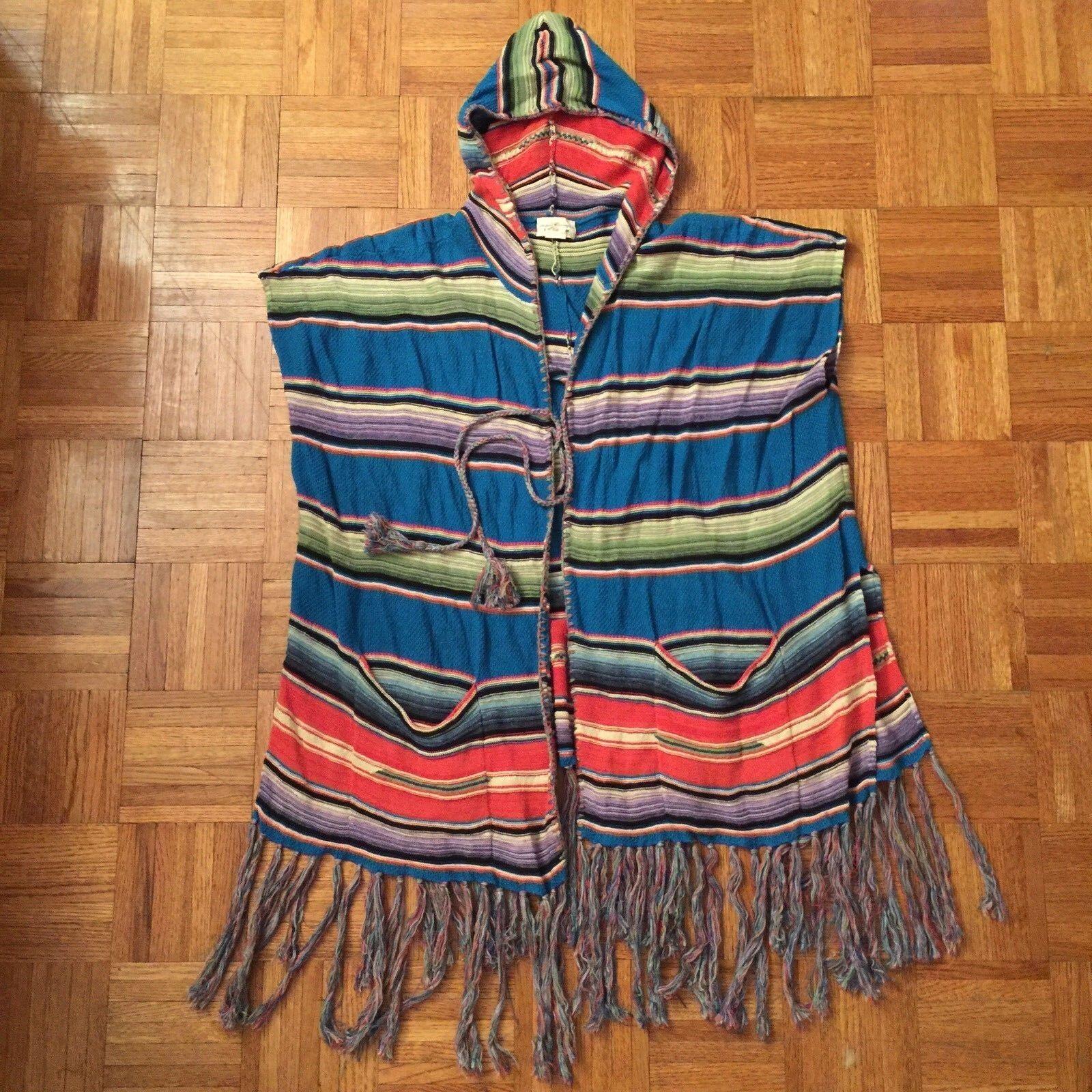 RARPH LAUREN Denis tillförsel söderwest Fringae Poncho Filtet Knitt