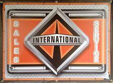INTERNATIONAL TRUCKS NEW LOGO MARQUEE NEON STYLE PRINTED BANNER SIGN ART 4' X 3'
