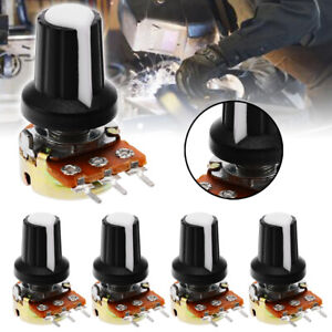 5Pc-Set-10K-OHM-Terminal-Linear-Taper-Rotary-15mm-Resistor-Potentiometer-amp-Knobs