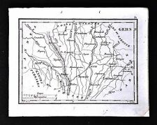 1833 Perrot Tardieu Map - Gers - Lectoure Auch Mirande Lombez Cologne - France