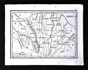 1833 Perrot Tardieu Map Gers Lectoure Auch Mirande Lombez