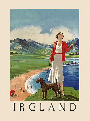 Ireland Irish Terrier Dog Lady Beach Tourism Vintage Poster Repro FREE SHIP/USA