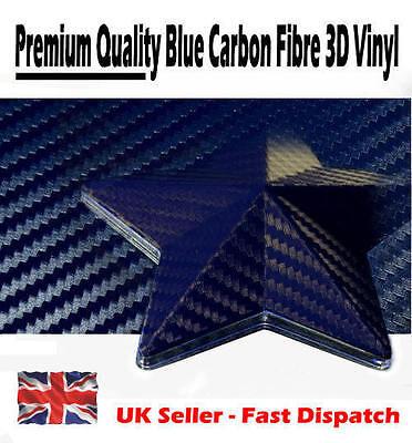 1000mm x 3000mm Dark Blue 3D Textured Carbon Fibre Vinyl Film - Car Wrap Sticker