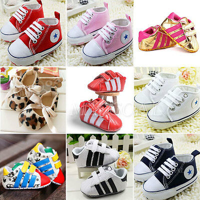 Baby Boy Girl Kid Infant Toddler Soft Sole Crib PreWalker Shoes Newborn Sneakers