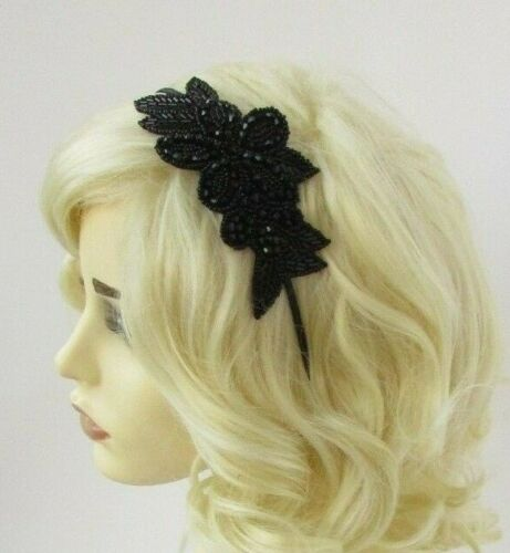 Black Flower Beaded Headpiece Headband 1920s Flapper Great Gatsby Downton 6928