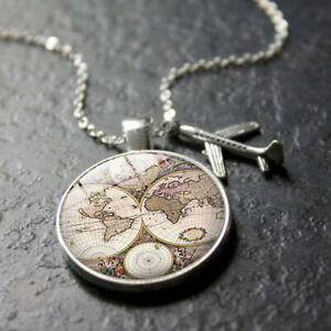 Neutral-Map-Choker-Jewelry-Pendant-Earth-World-Aircraft-Alloy-Necklace-Glass