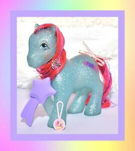 My-Little-Pony-MLP-G1-Vtg-Sparkle-Ponies-Sky-Rocket-amp-Original-Brush-Ribbon